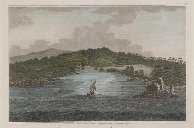 A hand coloured engraving showing Vaucluse Bay in 1820.