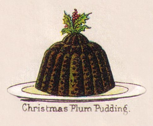 An illustration of a plum pudding with holly on top, in Mrs Beeton's Beeton's every-day cookery and housekeeping book, 1895.
