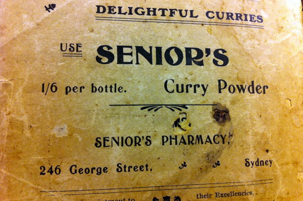 An advertisement for curry powder sold in Senior's Pharmacy