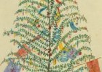 A watercolour painting of a Christmas tree with colourful decorations, 1860.