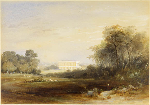 Landscape showing a large house in the background.