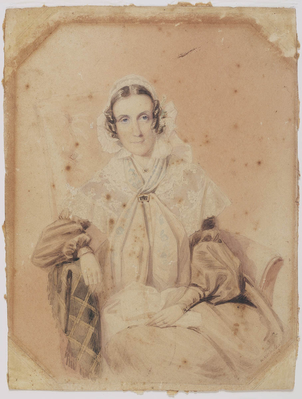 Watercolour portrait of Anna Maria Macarthur, 1843.