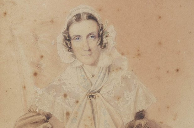 Detail of a watercolour portrait of Anna Maria Macarthur, 1843.