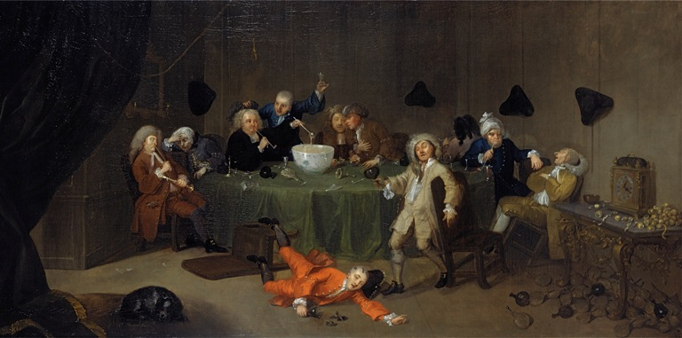 A midnight modern conversation, William Hogarth, circa 1732. Yale Center for British Art, Paul Mellon Collection