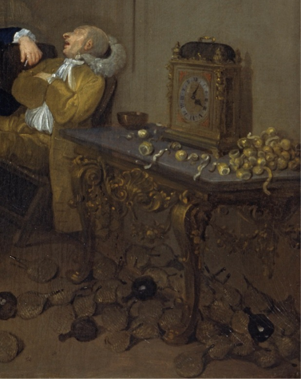 A detail of Hogarth's satirical view, showing a pile of discarded bottles and citrus used in making punch.