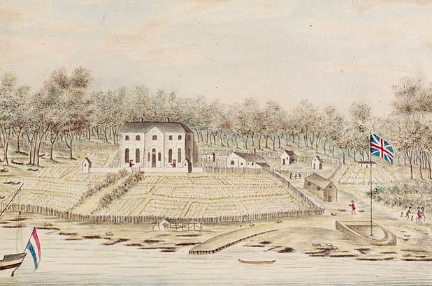 A drawing of first Government House, Sydney, showing the surrounding gardens, water and meeting of Aboriginal and European peoples.