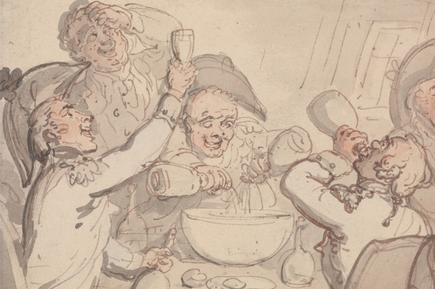 A group of naval officers carousing around a punch bowl