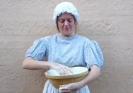 'Scullery maid' Anna making bread.