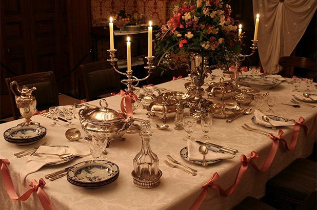 Recreated festive table setting for Alexander Macleay's 80th birthday celebration.