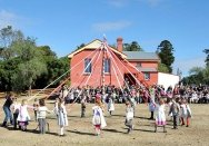 A maypole at the old schoolhouse open day at Rouse Hill House & Farm.