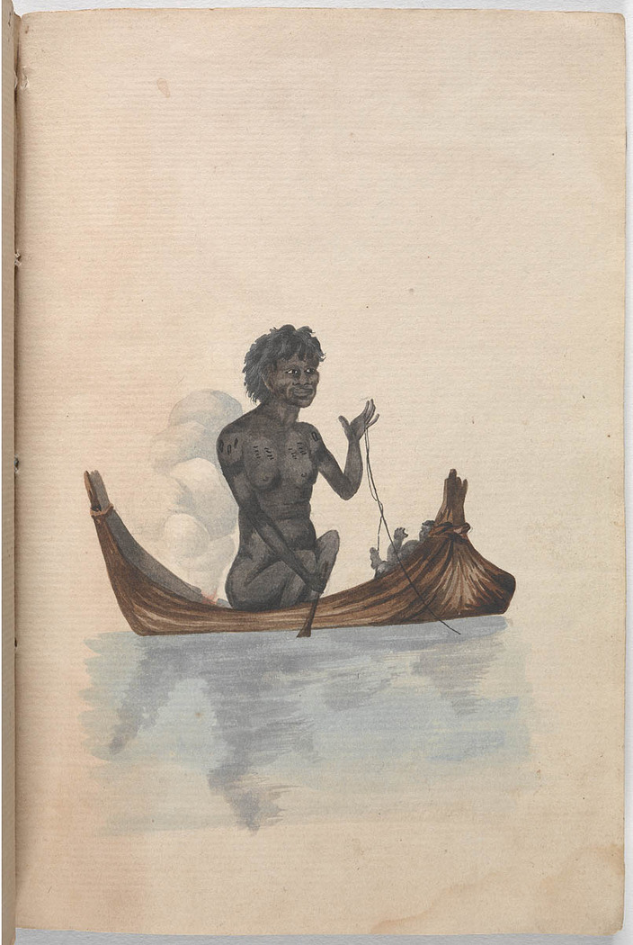 Watercolour of an Aboriginal woman in a canoe fishing with a line