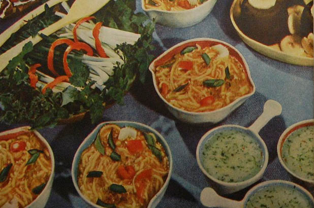 Photograph of spaghetti and left over casserole from Australian Home Beautiful, September 1951