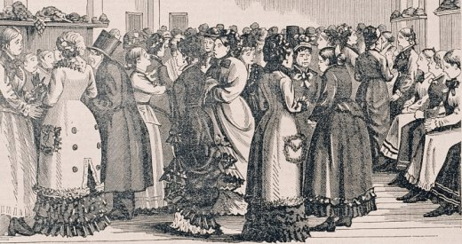 Illustration of immigrant women being hired at Hyde Park.
