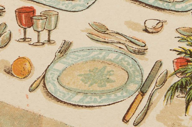 Detail of a set table, showing a a plate, cutlery and glasses.