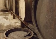 Barrells in the cellars at Elizabeth Bay House.