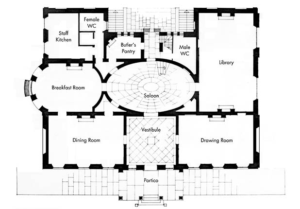 The plan of the ground floor at Elizabeth Bay House.