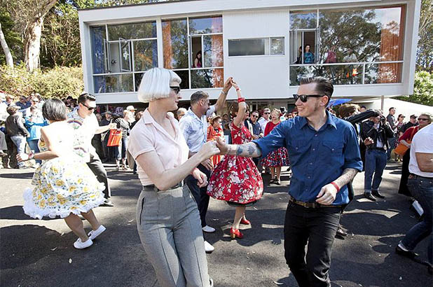 Couples dancing at the Fifties Fair at Rose Seidler House.