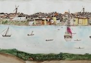 Chinese export ware punchbowl featuring a scene of Sydney Cove before 1820 (detail).