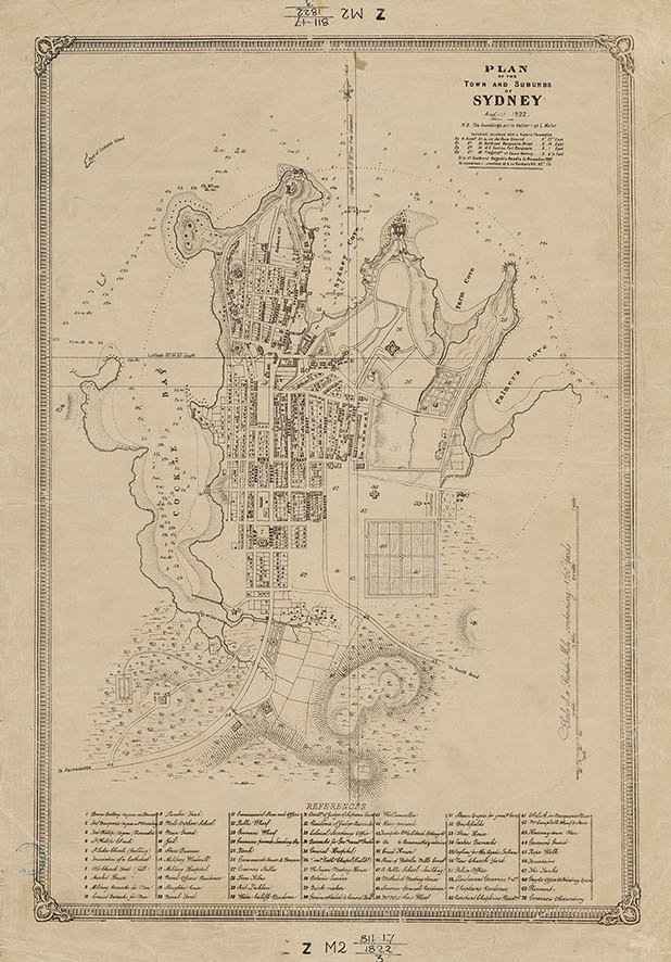 Plan of the Town and Suburbs of Sydney, August, 1822