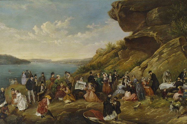 Detail of oil painting, A day's picnic on Clarke Island, Sydney Harbour, Montagu Scott, 1870.