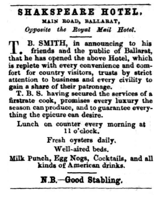 Advertisement for the Shakespeare Hotel, Ballarat, with references to milk punch and egg-nog.