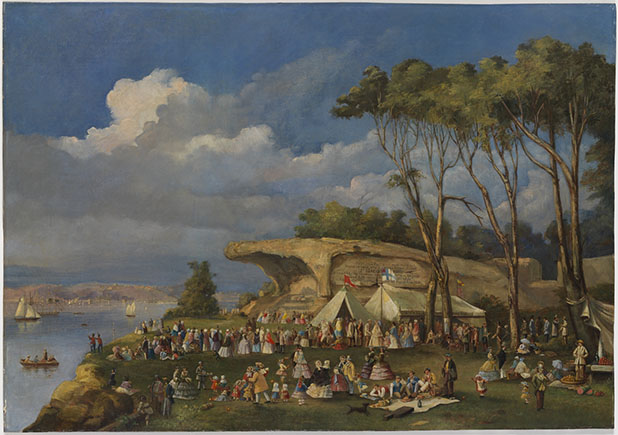 Oil painting, Picnic at Mrs Macquarie's Chair, by an unknown artist, 1855?