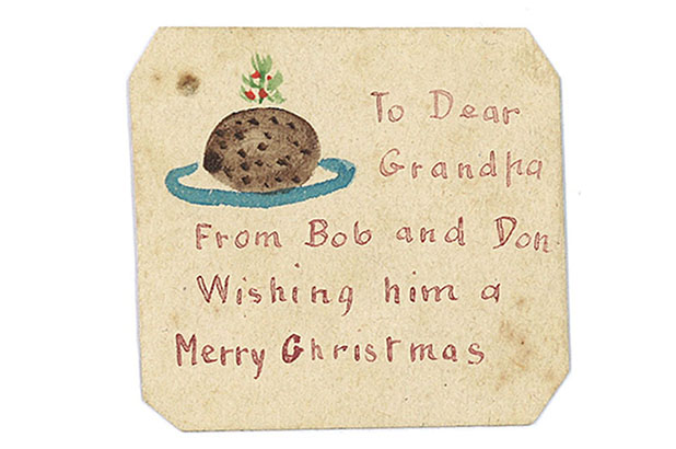 Tiny hand-drawn Christmas card from Robert Barnet and his brother Don to their grandfather Roderick Macgregor, c1906.