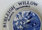 Burleigh-ware trade plate advertising willow pattern, c1935