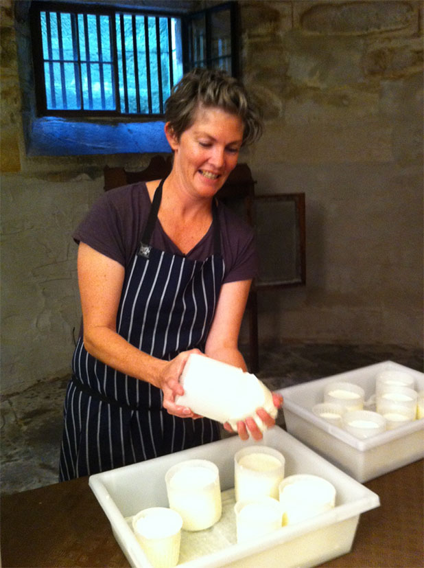 Kristen Allan making cheese in the cellar at Elizabeth Bay House