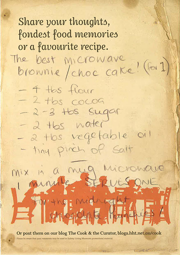 Microwave brownie choc cake recipe left by a visitor to Eat your history.