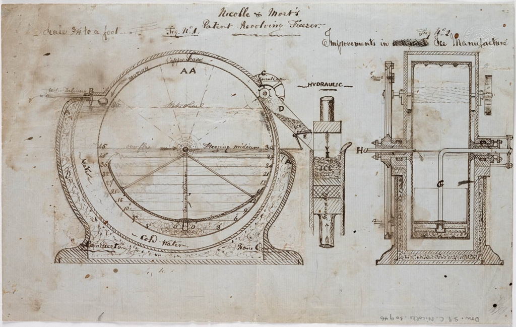 Design for an ice making machine, which worked on a chemical reaction to produce the freezing temperatures required.