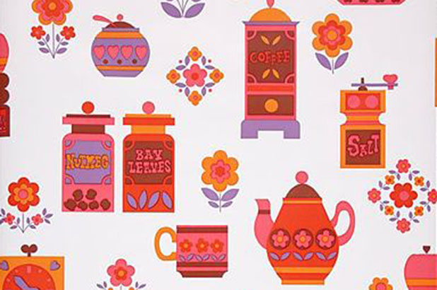 Pots and canisters wallpaper, c1970.