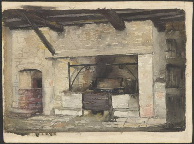 Kitchen and fireplace at Berrima, New South Wales, Hardy Wilson, c1920