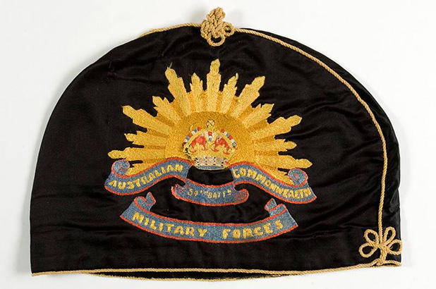 Tea cosy embroidered with the Rising Sun badge, from Rouse Hill House and Farm.