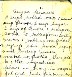 Anzac biscuit recipe from Carole Moore's family recipe notebook.