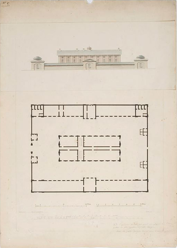 Port Jackson. Plan et Elevation de la Caserne des Convicts, à Sydney is a pen and ink drawing which shows the familiar Barracks central dormitory building and gatehouses, the solitary cells, superintendent's quarters and bakehouse of the northern range and the kitchen, and mess-rooms of the southern range which have long since been demolished.