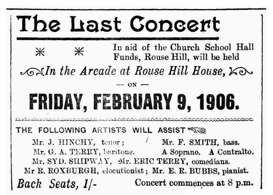 Concert advertisement from The Windsor and Richmond Gazette Saturday 10th February 1906
