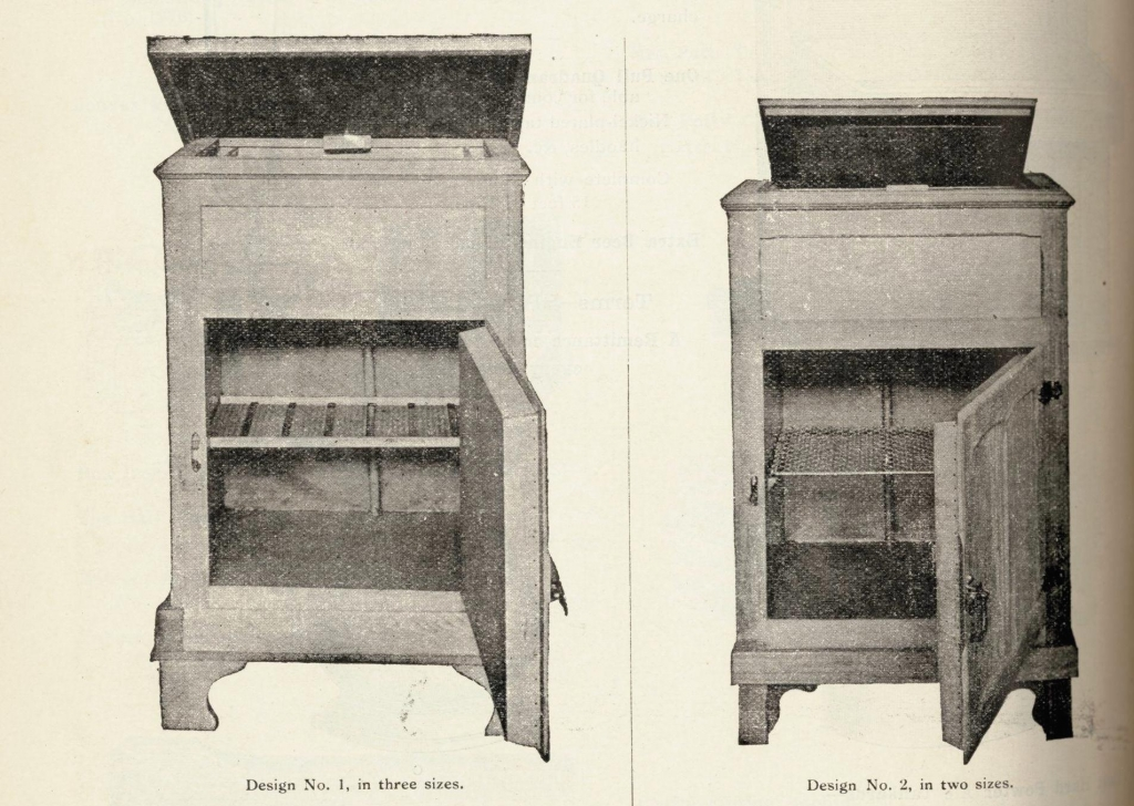 Ice chests advertised by Anthony Hordern and Sons Chilcott refrigerator Design no1 and Design no2