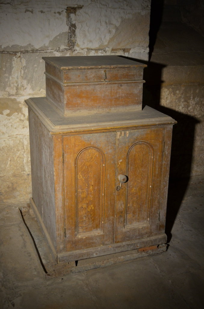 Ice chest in the cellar at Rouse Hill House with its compartment doors closed.
