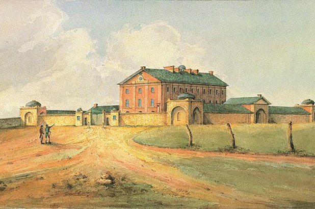 A watercolour painting of Hyde Park Barracks