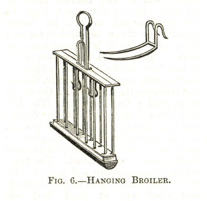 Hanging broiler illustrated in Cassells Household Cookery 1909