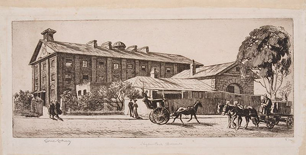 Etching by Sir Lionel Lindsay showing the Central Dormitory Building and remains of the South Range, viewed from Hyde Park looking North East.