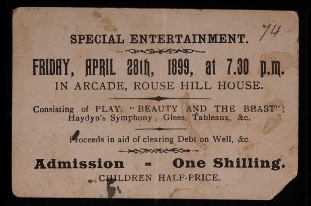 Ticket for a theatrical performance in the arcade at Rouse Hill