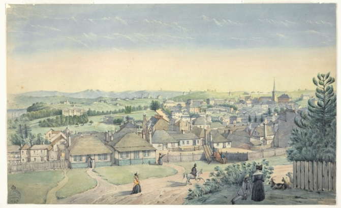 View from Flagstaff Hill ca 1844 attributed to Joseph Fowles