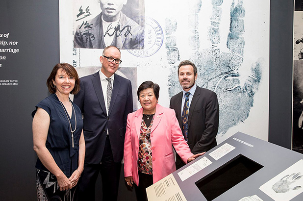 Curator Nicola Teffer with Sydney Living Museums chairman Michael Rose, the Hon Helen Sham-Ho OAM and Sydney Living Museums director Mark Goggin in the Celestial City: Sydney's Chinese Story exhibition.