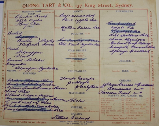 Handwritten Quong Tart tearooms menu
