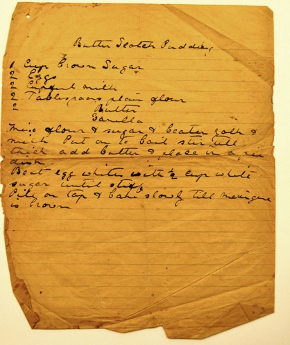 Rouse family manuscript recipe for butterscotch pudding