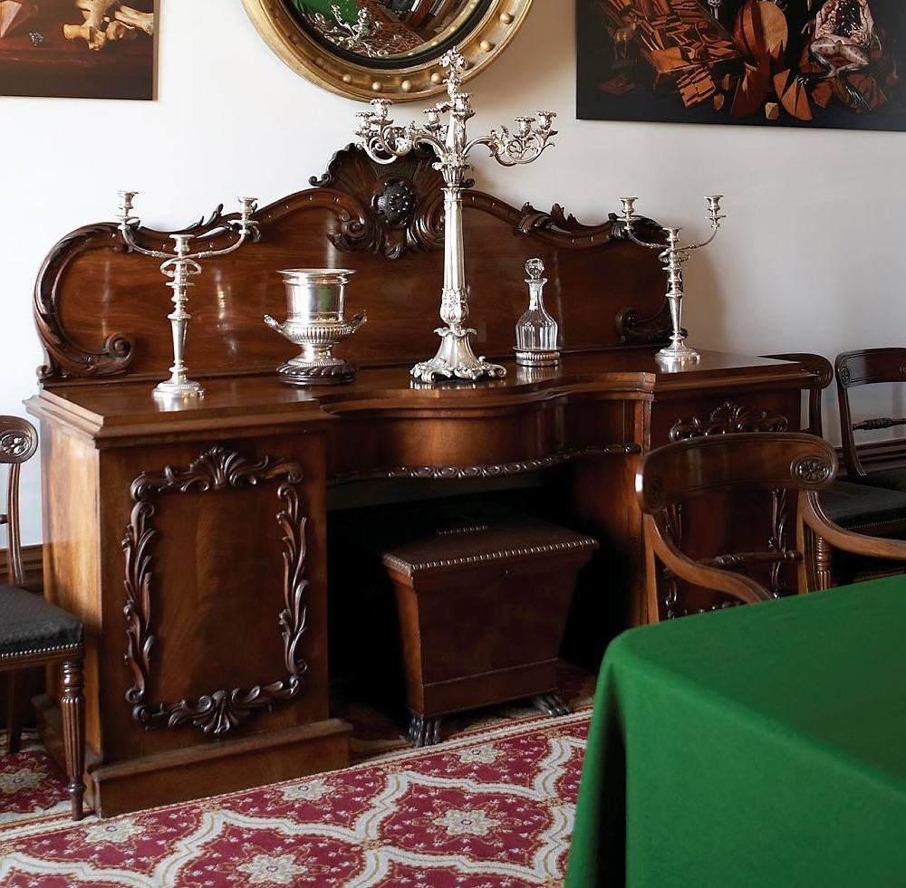 Sideboard at Elizabeth Bay House with a sarcophagus between its pedestal sides