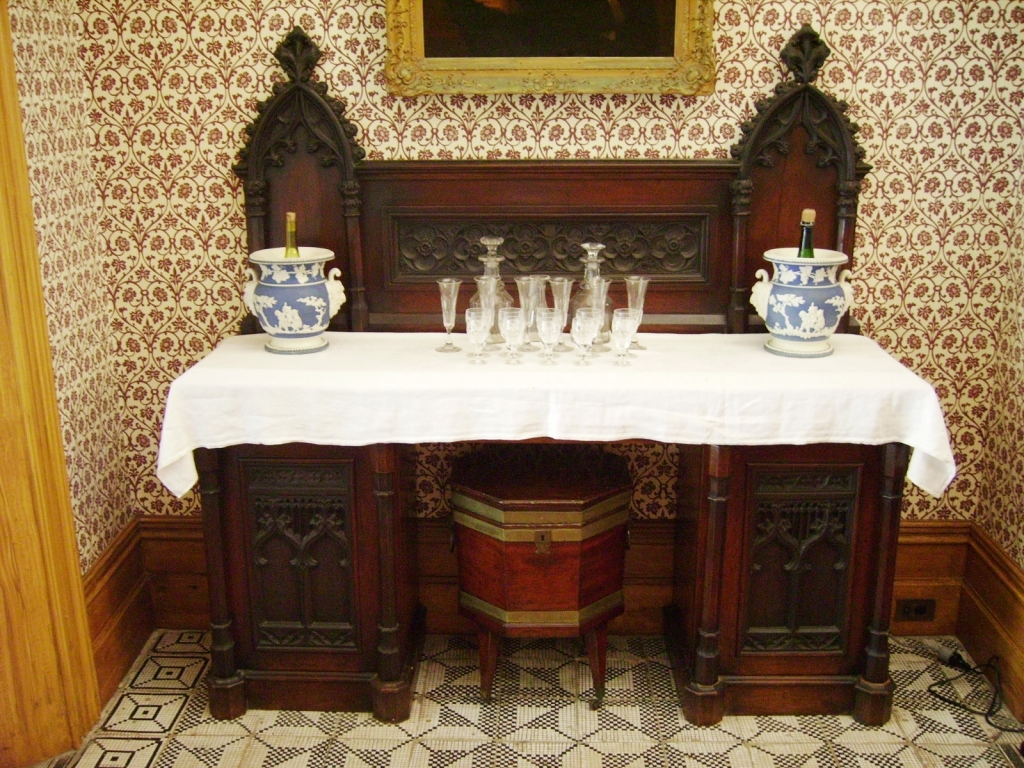 Gothic Revival sideboard and cellaret in the dining room at Vaucluse House