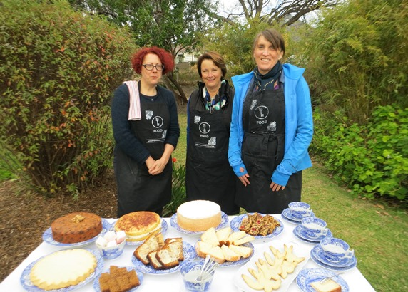 Margot, Paula and Charmaine, recipe testing volunteers, with an impressive spread from Meroogal manuscript recipes.